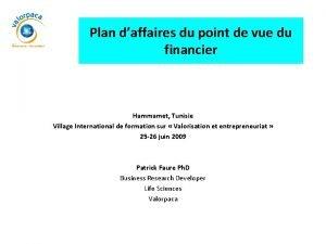 Plan daffaires du point de vue du financier