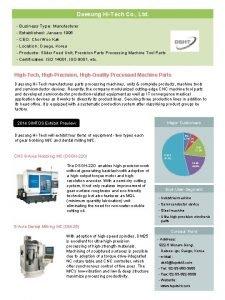 Daesung HiTech Co Ltd Business Type Manufacturer Established