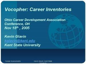 Vocopher Career Inventories Ohio Career Development Association Conference