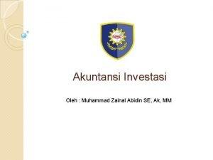 Akuntansi Investasi Oleh Muhammad Zainal Abidin SE Ak