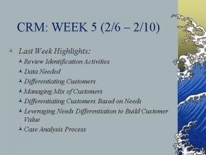 CRM WEEK 5 26 210 Last Week Highlights