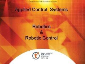 Applied Control Systems Robotics Robotic Control Robotic Syllabus