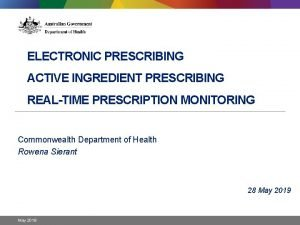 ELECTRONIC PRESCRIBING ACTIVE INGREDIENT PRESCRIBING REALTIME PRESCRIPTION MONITORING
