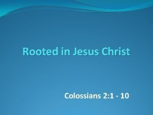 Rooted in Jesus Christ Colossians 2 1 10