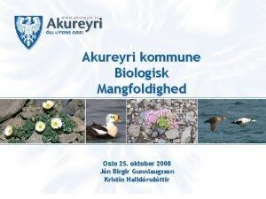 Akureyri kommune Biologisk Mangfoldighed Oslo 25 oktober 2006