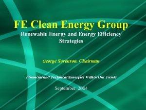 FE Clean Energy Group Renewable Energy and Energy