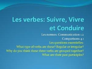 Les verbes Suivre Vivre et Conduire Les normes
