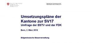 Eidgenssisches Finanzdepartement EFD Eidgenssische Steuerverwaltung ESTV Umsetzungsplne der