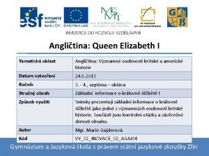 Anglitina Queen Elizabeth I Tematick oblast Anglitina Vznamn