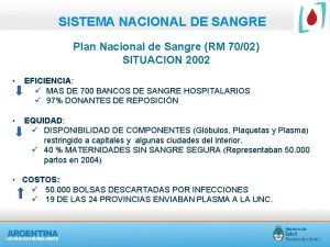 PLAN SISTEMA NACIONAL DE SANGRE Plan Nacional de
