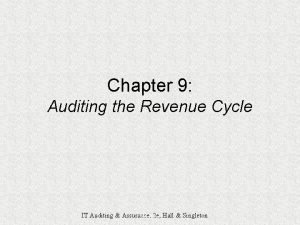 Chapter 9 Auditing the Revenue Cycle IT Auditing