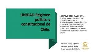 UNIDAD Rgimen poltico y constitucional de Chile OBJETIVO