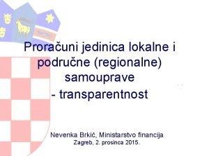 Prorauni jedinica lokalne i podrune regionalne samouprave transparentnost