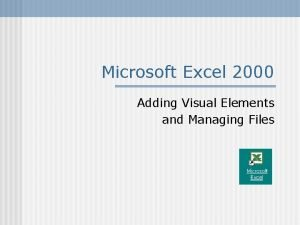 Microsoft Excel 2000 Adding Visual Elements and Managing