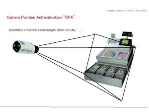 Camera Position Authentication CPA Importance of Camera Positioning