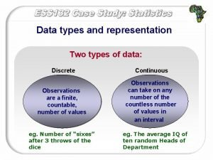 Data types and representation Two types of data