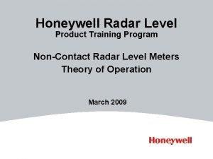 Honeywell Radar Level Product Training Program NonContact Radar