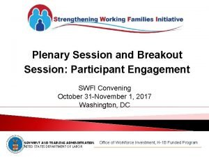 Plenary Session and Breakout Session Participant Engagement SWFI