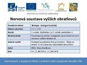 Nervov soustava vych obratlovc Tematick oblast Biologie biologie