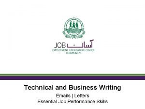 Technical and Business Writing Emails Letters Essential Job