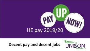 HE pay 201920 Decent pay and decent jobs