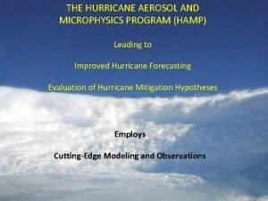 THE HURRICANE AEROSOL AND MICROPHYSICS PROGRAM HAMP Leading