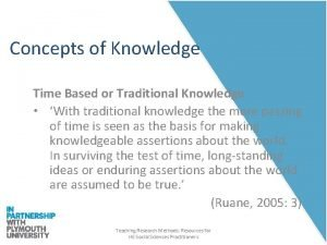 Concepts of Knowledge Time Based or Traditional Knowledge