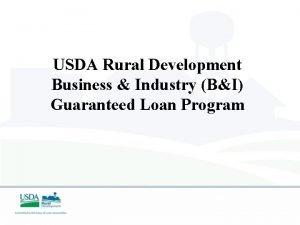 USDA Rural Development Business Industry BI Guaranteed Loan