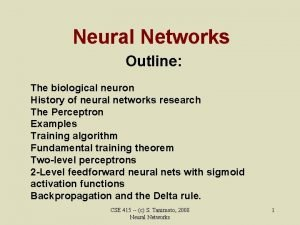 Neural Networks Outline The biological neuron History of