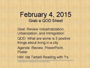 February 4 2015 Grab a QOD Sheet Goal