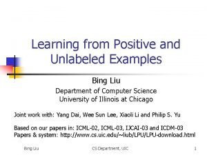 Learning from Positive and Unlabeled Examples Bing Liu