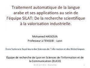 Traitement automatique de la langue arabe et ses