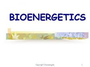 BIOENERGETICS Copyright Cmassengale 1 What is Bioenergetics The
