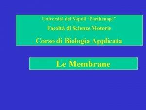 Universit dei Napoli Parthenope Facolt di Scienze Motorie
