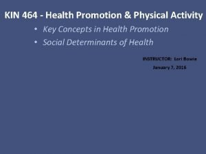 KIN 464 Health Promotion Physical Activity Key Concepts
