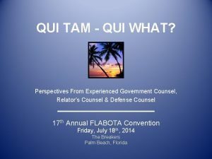 QUI TAM QUI WHAT Perspectives From Experienced Government