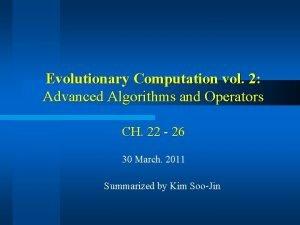 Evolutionary Computation vol 2 Advanced Algorithms and Operators