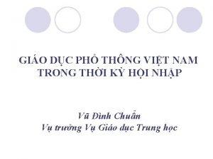 GIO DC PH THNG VIT NAM TRONG THI