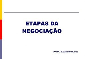 ETAPAS DA NEGOCIAO Prof Elizabete Nunes Aspectos Importantes