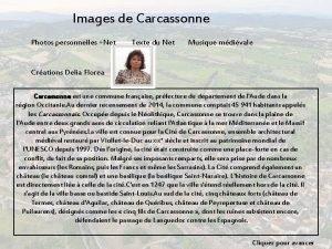 Images de Carcassonne Photos personnelles Net Texte du