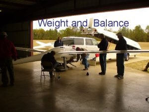Weight and Balance OBJECTIVES Determine the flying weight