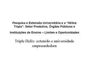 Pesquisa e Extenso Universitria e a Hlice Tripla
