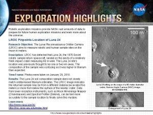 Week of 03292010 Robotic exploration missions provide NASA
