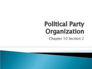 Political Party Organization Chapter 10 Section 2 Party