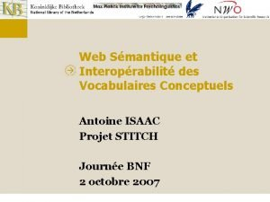 Web Smantique et Interoprabilit des Vocabulaires Conceptuels Antoine