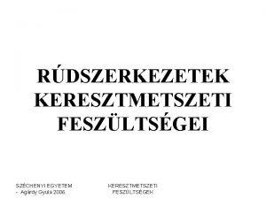 RDSZERKEZETEK KERESZTMETSZETI FESZLTSGEI SZCHENYI EGYETEM Agrdy Gyula 2006