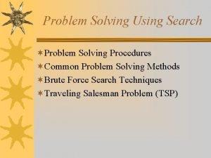 Problem Solving Using Search Problem Solving Procedures Common
