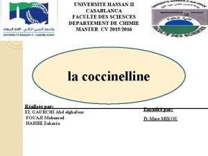 UNIVERSITE HASSAN II CASABLANCA FACULTE DES SCIENCES DEPARTEMENT