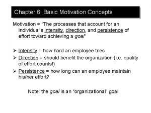 Chapter 6 Basic Motivation Concepts Motivation The processes