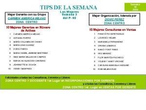 Semana 19 2010 TIPS DE LA SEMANA Mejor